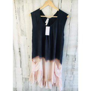 Amadi Anthropologie Dip Dye Dress Navy Pink Ruffle